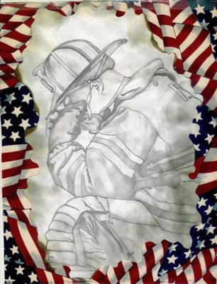 9/11 Fireman Drawing