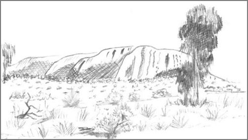 Uluru or Ayers Rock Sketch