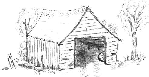 Characteristic Old Barn Drawing