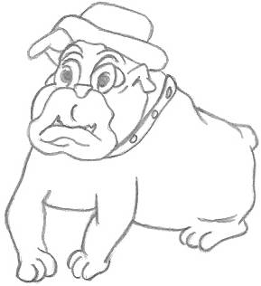 Cartoon Drawing of a Bulldog