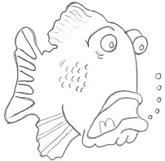 Different cartoon drawings of animals for Cartoon fish drawing