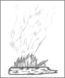 Burning Log Drawing
