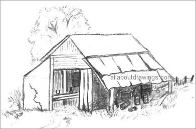 Characteristic Old Barn Drawing