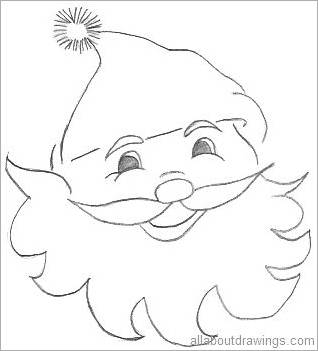 santa claus outline candycane drawing - Simple Christmas Drawings