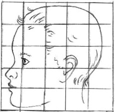 Grid Drawing Of A Toddler