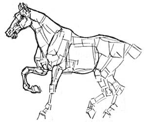 Block Horse Drawing