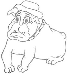Cartoon Drawing of a Bulldog