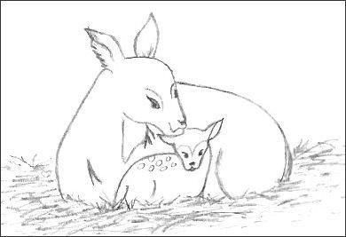 Drawing of Christmas Deer