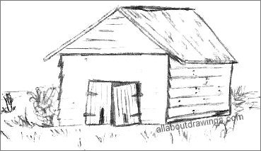 Drawing Of A Barn